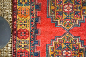 4'1 x 7'1 Vintage Turkish Oushak Carpet Red, Blue + Yellow