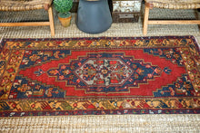Load image into Gallery viewer, 3'4 x 6'7 Vintage Turkish Oushak Carpet Red, Blue + Camel