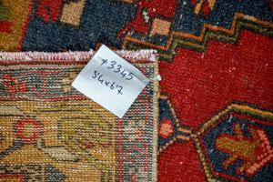 3'4 x 6'7 Vintage Turkish Oushak Carpet Red, Blue + Camel