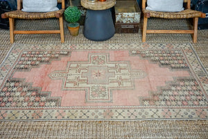 4' x 7' Vintage Turkish Oushak Carpet Pink, Gray and Graphite