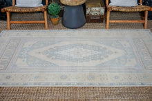 Load image into Gallery viewer, 4' x 7'8 Vintage Turkish Taspinar Carpet Muted Beige, Teal and Sage