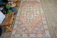 Load image into Gallery viewer, 4'2 x 8'10 Vintage Turkish Oushak Carpet Muted Copper, Purple and Teal