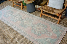 Load image into Gallery viewer, 2'9 x 9'5 Vintage Turkish Oushak Runner Muted Pink, Blue and Gray