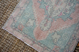 2'9 x 9'5 Vintage Turkish Oushak Runner Muted Pink, Blue and Gray