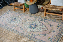 Load image into Gallery viewer, 3'2 x 9'3 Vintage Turkish Oushak Runner Muted Gray, Blue and Pink