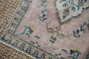 3'2 x 9'3 Vintage Turkish Oushak Runner Muted Gray, Blue and Pink