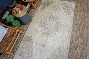 4'2 x 7'8 Oushak Rug Muted Beige, Green and Gray Vintage Turkish Carpet