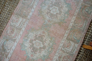 3'1 x 10 Vintage Turkish Runner Muted Pink, Turquoise and Mocha