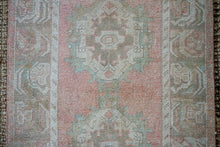 Load image into Gallery viewer, 3'1 x 10 Vintage Turkish Runner Muted Pink, Turquoise and Mocha