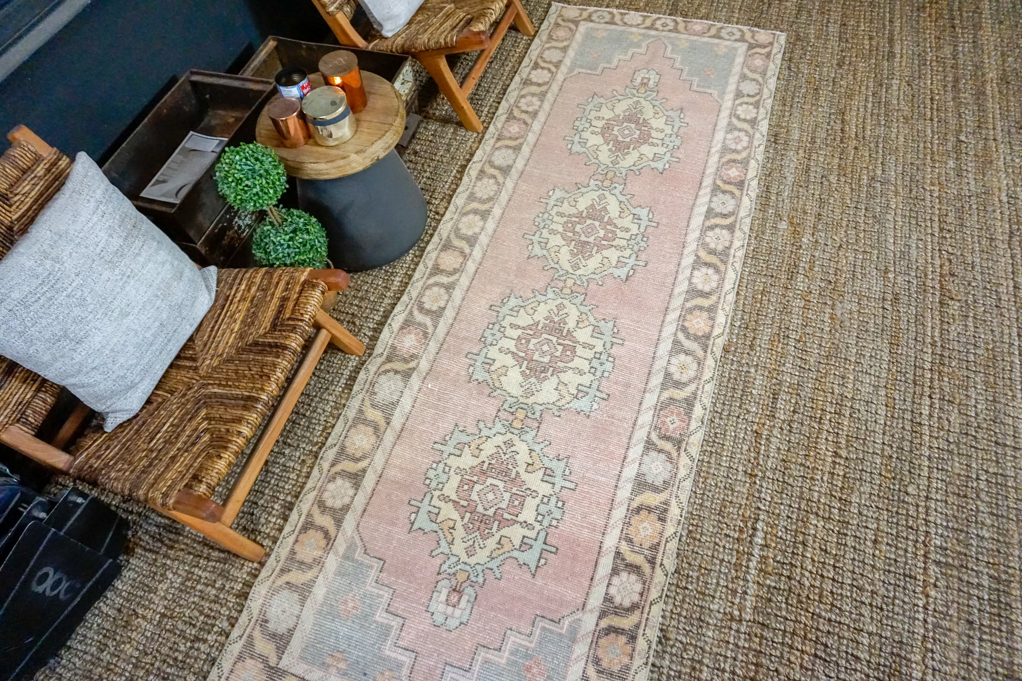 Sold 1/21*3' x 9' Vintage Turkish Runner Muted Pink, Vanilla and Blue