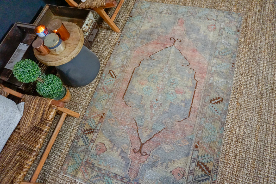3'9 x 6'5 Turkish Oushak Rug Muted Gray, Copper and Blue Vintage Carpet