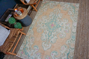 4'6 x 7'3 Turkish Oushak Rug Muted Copper, Beige and Green Vintage Carpet