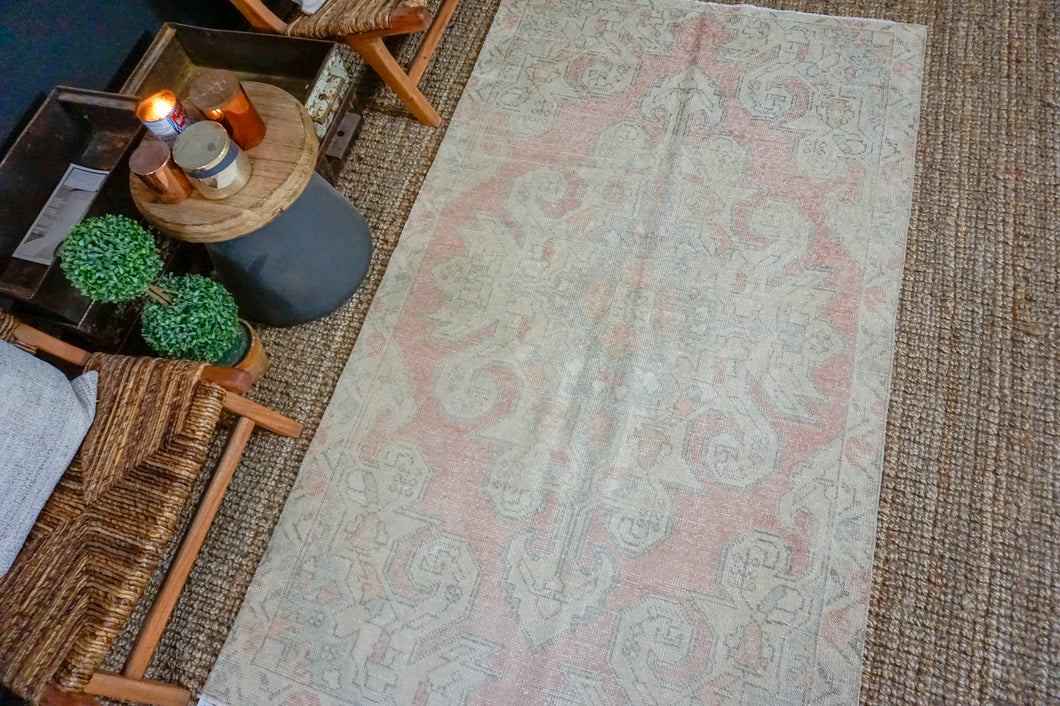 4'2 x 7'2 Turkish Oushak Rug Muted Pink, Beige and Blue Vintage Carpet