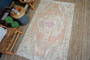 4'3 x 7' Turkish Oushak Rug Muted Blush,Beige and Green Vintage Carpet