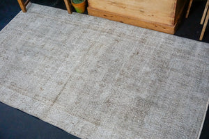 3'9 x 6'6 Vintage Turkish Oushak Rug Light Fog Gray Overdyed Carpet