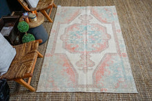 Load image into Gallery viewer, 4'5 x 7'3 Turkish Oushak Rug Muted Cream, Red and Turquoise Vintage Carpet