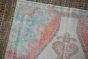 4'5 x 7'3 Turkish Oushak Rug Muted Cream, Red and Turquoise Vintage Carpet