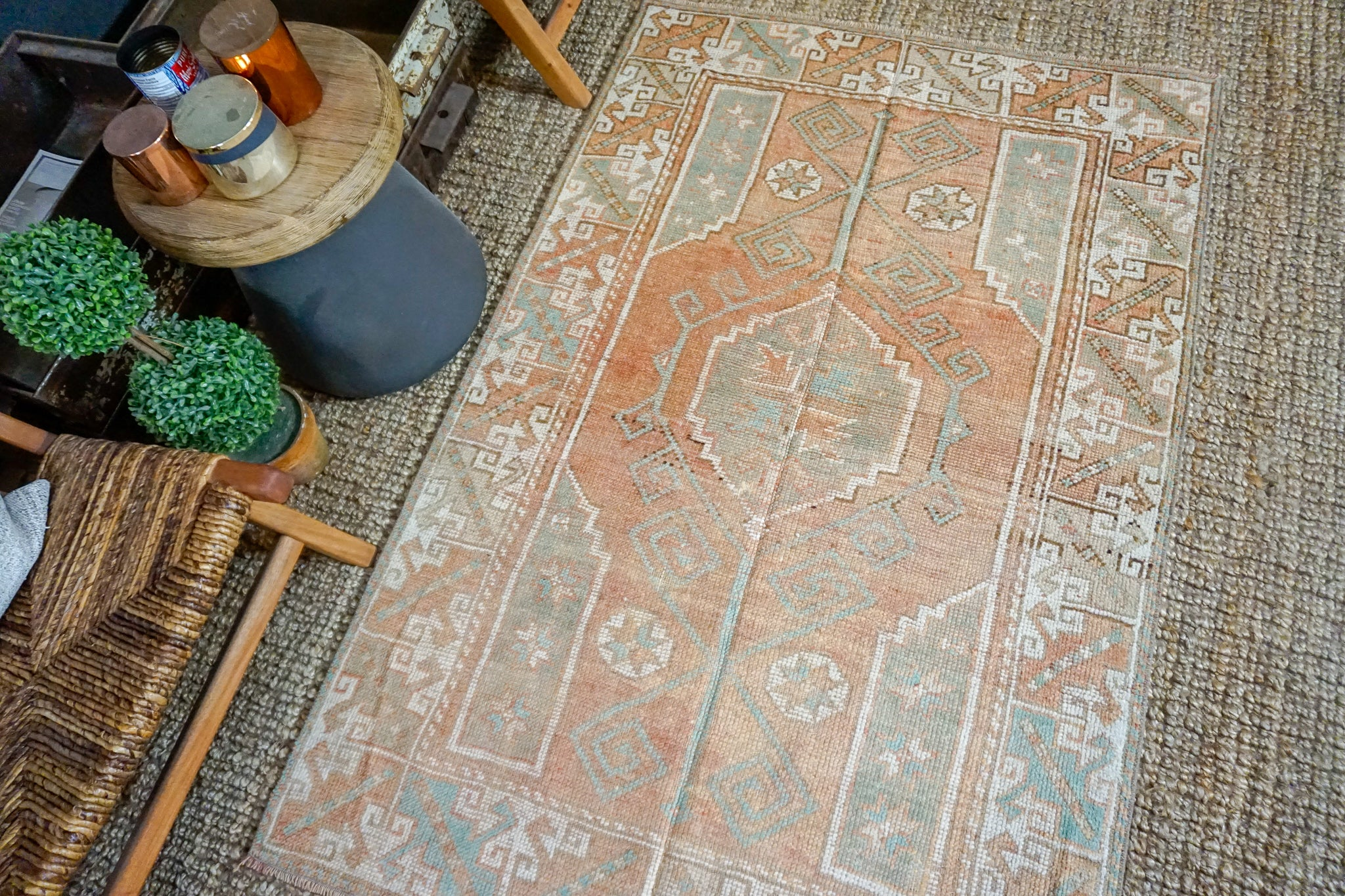 3'8 x 5'9 Turkish Oushak Rug Muted Copper, Green + Cream Antique Carpet