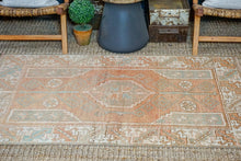 Load image into Gallery viewer, 3'8 x 5'9 Turkish Oushak Rug Muted Copper, Green + Cream Antique Carpet