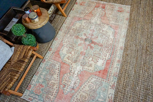 3'10 x 7'3 Turkish Oushak Rug Muted Cream, Red and Aqua Vintage Carpet