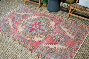 4'3 x 7'4 Turkish Oushak Rug Muted Strawberry Pink and Blue Vintage Carpet