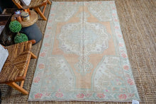 Load image into Gallery viewer, 4'5 x 7'10 Turkish Oushak Rug Muted Apricot,Green + Pink Vintage Carpet