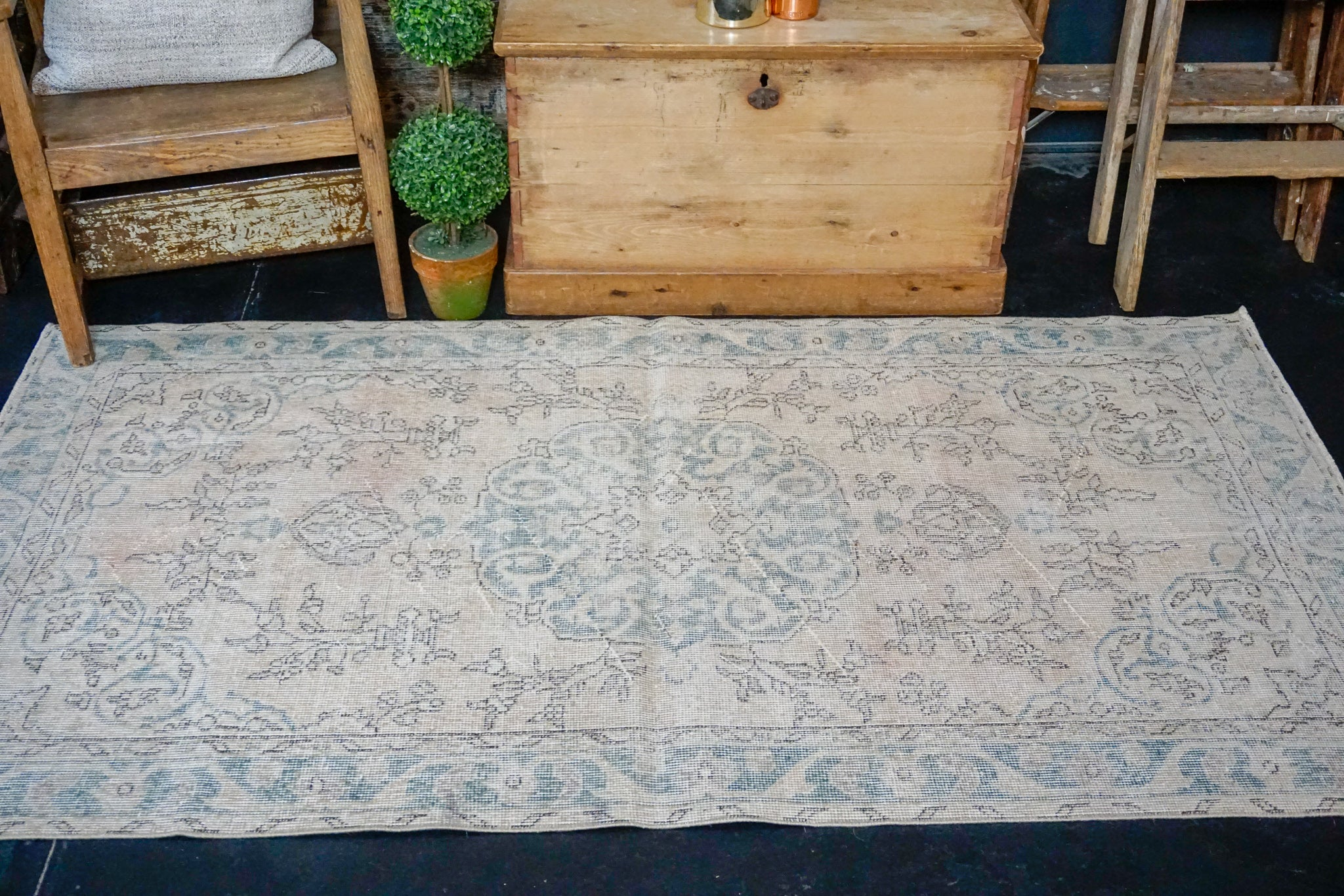 3'8 x 6'8 Vintage Turkish Oushak Rug Pink-Beige and Turquoise