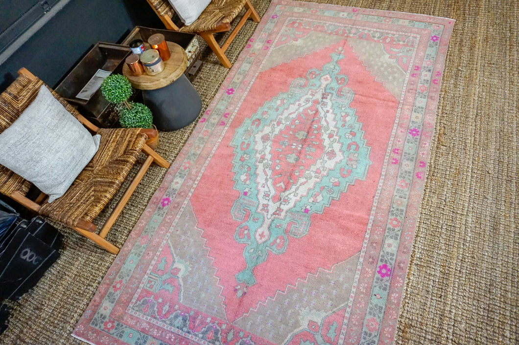 5' x 10' Turkish Oushak Rug Muted Watermelon Pink, Turquoise and Taupe Vintage Carpet