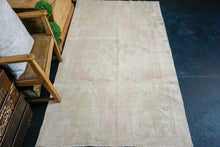 Load image into Gallery viewer, 4'1 x 7'4 Vintage Turkish Oushak Rug Pink, Beige & Green