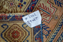 Load image into Gallery viewer, 3'5 x 6'5 Turkish Oushak Rug Muted Indigo Blue, Blush and Red Antique Carpet
