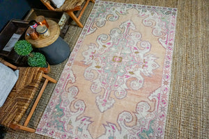 4'6 x 7'5 Turkish Oushak Rug Muted Terra Cotta, Pink + Blue Vintage Carpet