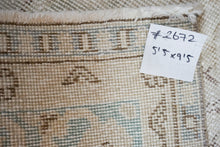 Load image into Gallery viewer, 5'5 x 9'5 Vintage Turkish Oushak Rug Beige and Green