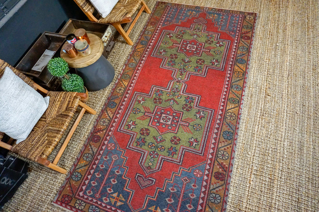 4'4 x 8'11 Oushak Rug Red, Green and Blue Vintage Turkish Carpet