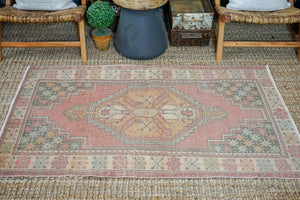 Sold 2/22*3'6 x 5'7 Oushak Rug Muted Red, Gray and Apricot Vintage Turkish Carpet