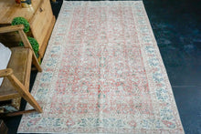 Load image into Gallery viewer, 4'8 x 8'  Vintage Turkish Oushak Rug Red, Cream, Blue and Green