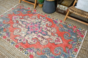 4'2 x 7' Oushak Rug Muted Watermelon Red, Periwinkle Blue + Purple Vintage Turkish Carpet