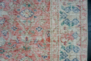 4'8 x 8'  Vintage Turkish Oushak Rug Red, Cream, Blue and Green