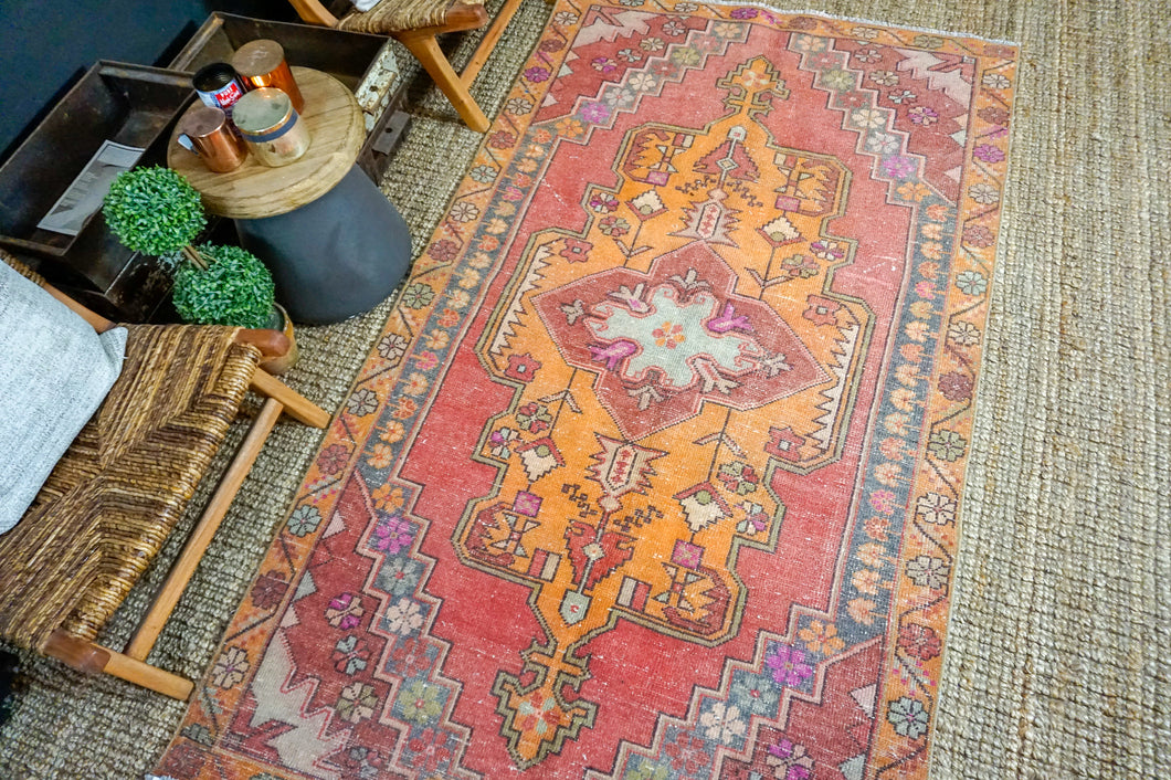 4'8 x 8' Oushak Rug Muted Reds, Orange + Gray Vintage Turkish Carpet