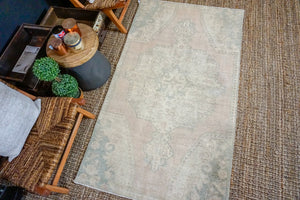 Sold 3/29*3'9 x 6'9 Oushak Rug Muted Pink, Teal and Vanilla Vintage Turkish Carpet