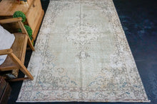 Load image into Gallery viewer, 4'11 x 8' Vintage Turkish Oushak Rug Green, Blue and Beige