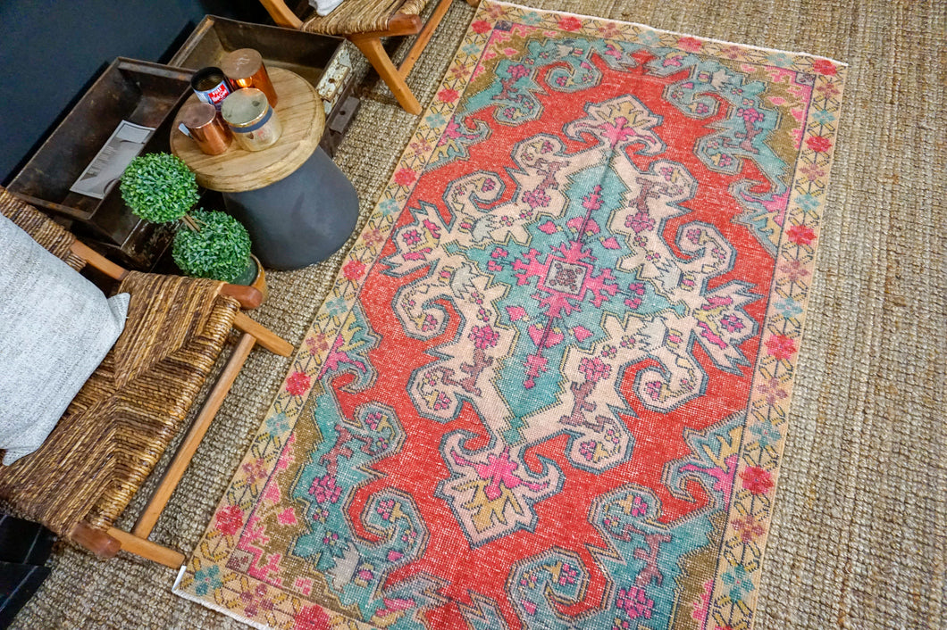 4'4 x 7'5 Oushak Rug Muted Watermelon Red, Turquoise Blue + Purple Vintage Turkish Carpet
