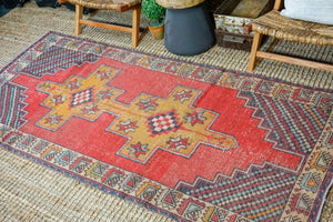 4'1 x 8'7 Oushak Rug Muted Red, Camel + Gray Vintage Turkish Carpet