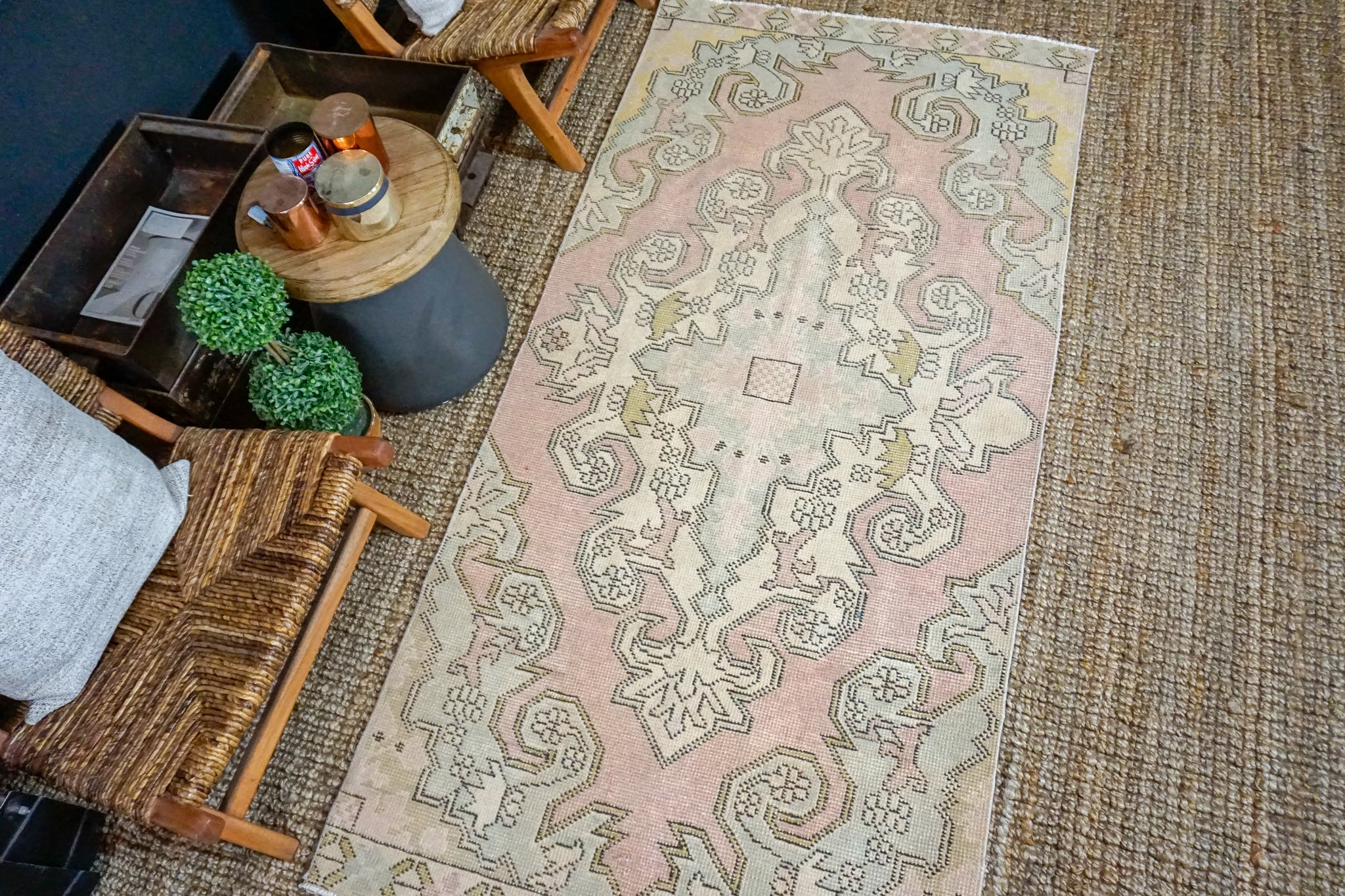 3'7 x 7'6 Oushak Rug Muted Pink, Vanilla and Blue Vintage Turkish Carpet