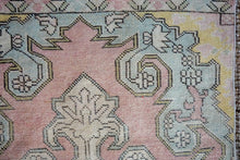 Load image into Gallery viewer, 3'7 x 7'6 Oushak Rug Muted Pink, Vanilla and Blue Vintage Turkish Carpet