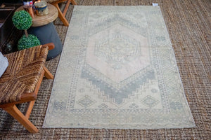 Sold 1/21*3'10 x 7' Oushak Rug Muted Pink, Gray + Vanilla Vintage Turkish Carpet