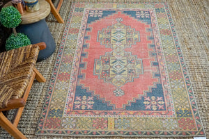 3'10 x 6'9 Oushak Rug Muted Red, Gray + Honey Vintage Turkish Carpet