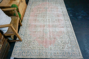 4'10 x 8'3 Vintage Turkish Oushak Rug Pink, Blue and Beige