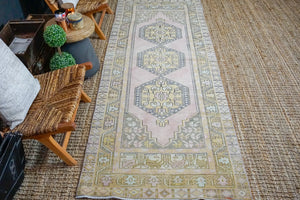 3'9 x 9'6 Vintage Turkish Oushak Runner Muted Pink, Gray and Brass