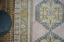 Load image into Gallery viewer, 3'9 x 9'6 Vintage Turkish Oushak Runner Muted Pink, Gray and Brass