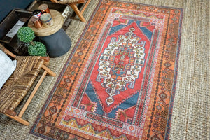 4'4 x 7'6 Oushak Rug Muted Red, Blue + Orange Vintage Turkish Carpet
